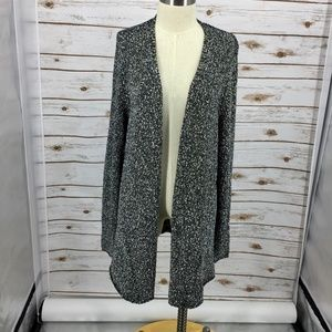 Eileen Fisher cardigan open front marled cotton XL